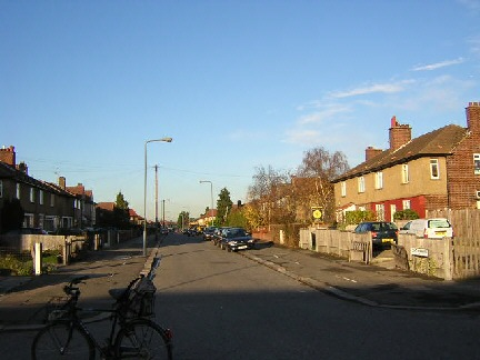 Looking up Crown Road from where Crown Road and Duke Road converge at the bottom of the map on the left